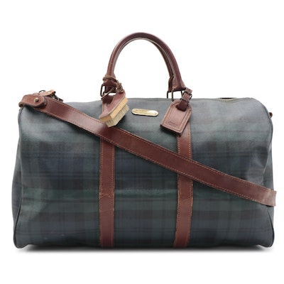 Polo Ralph Lauren Blackwatch Plaid Coated Canvas and Leather Duffel Bag