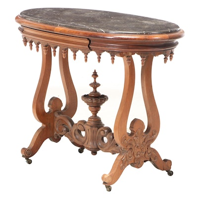 Victorian Rococo Revival Carved Walnut and Black Marble Side Table