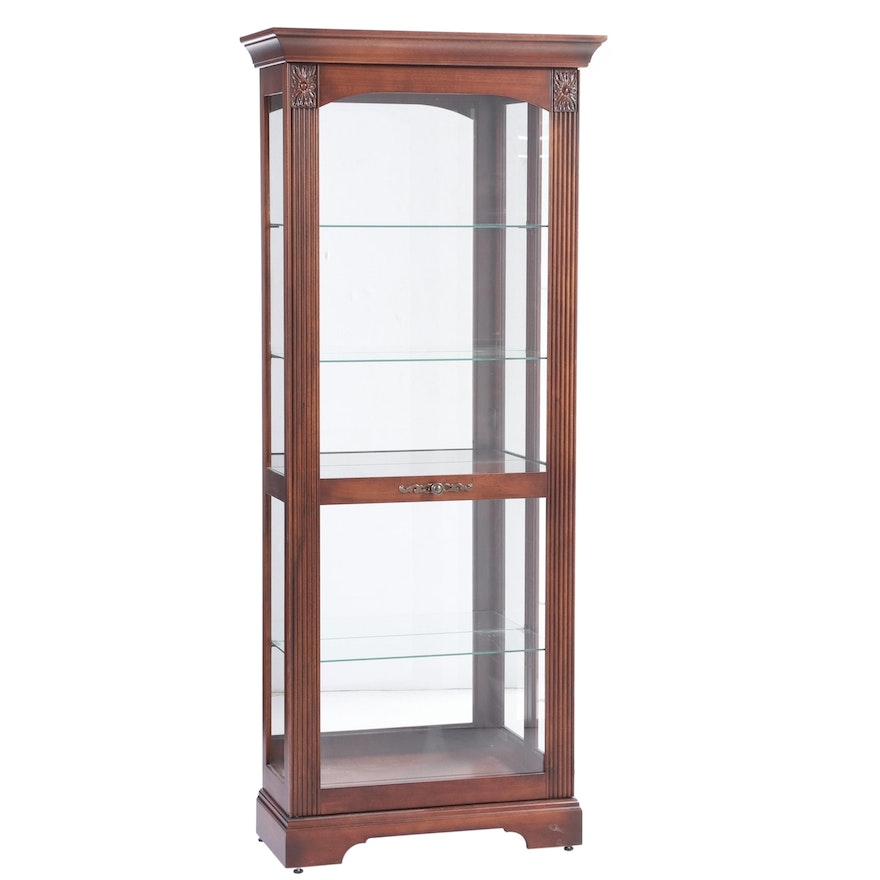 Howard Miller Cherrywood-Stained Mirror-Back Display Cabinet