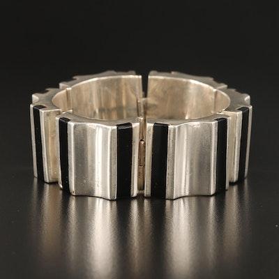 Vintage Mexican Faux Black Onyx Concave Panel Bracelet