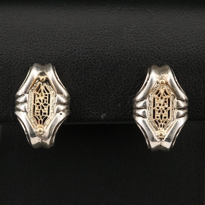 18K Two-Tone Openwork Earrings