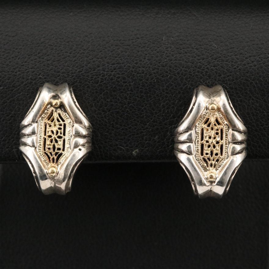 18K Two-Tone Openwork Earrings