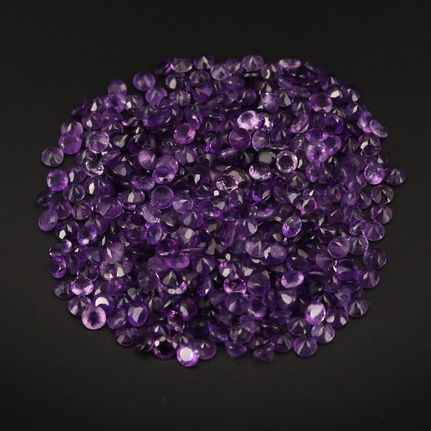 Loose 129.47 CTW Round Faceted Amethysts