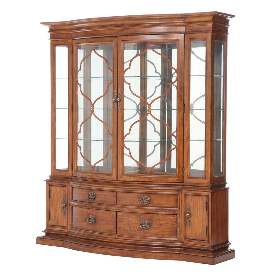 """Thomasville """"Cassara"""" Pecan-Veneered Two-Piece Illuminated China Cabinet"""
