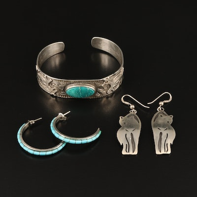Southwestern Sterling Turquoise Llama Cuff, Wolf and Half Hoop Earrings