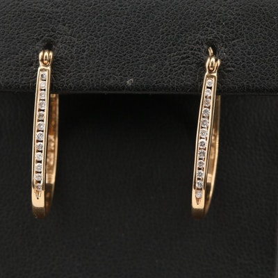 14K Diamond Oblong Hoop Earrings
