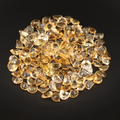 Loose 249.42 CTW Half Moon Faceted Citrines
