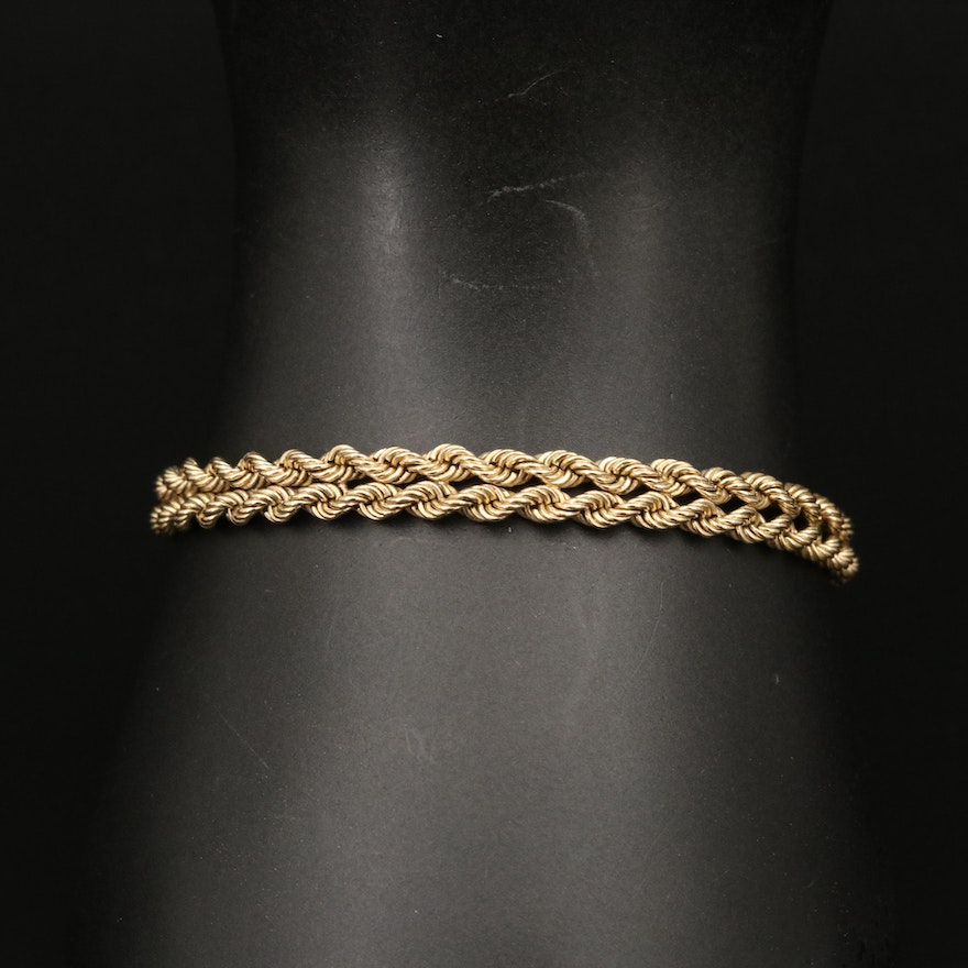14K Double French Rope Chain Bracelet