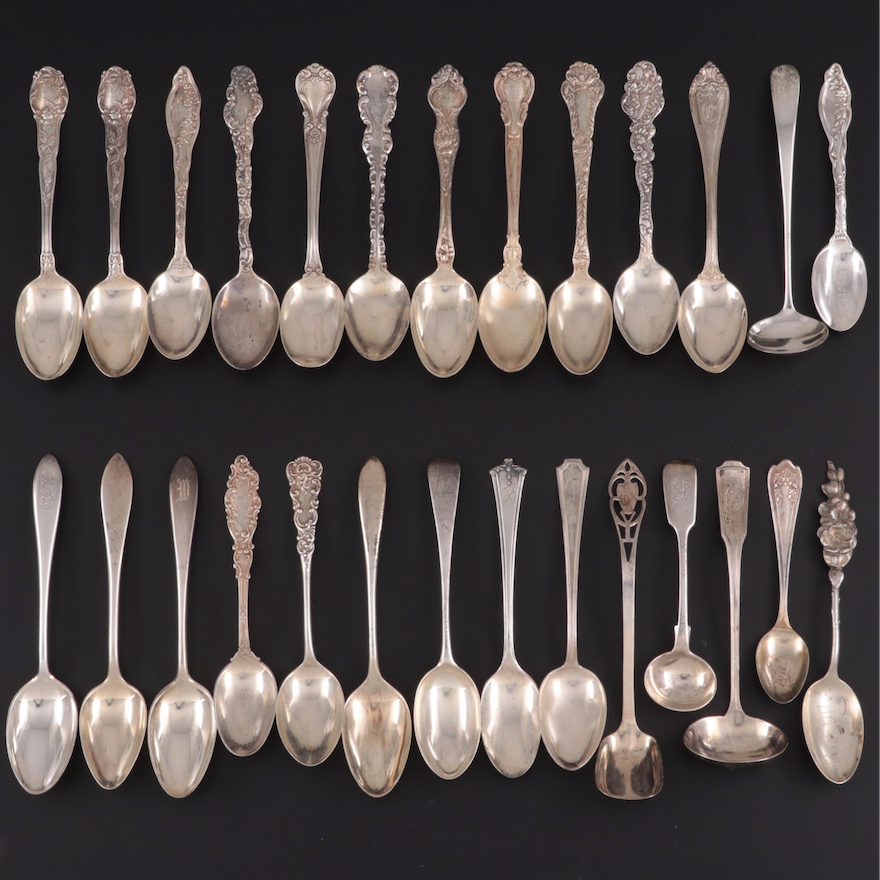 Gorham, R. Wallace & Sons and Other Sterling Silver Teaspoons and Serving Spoons