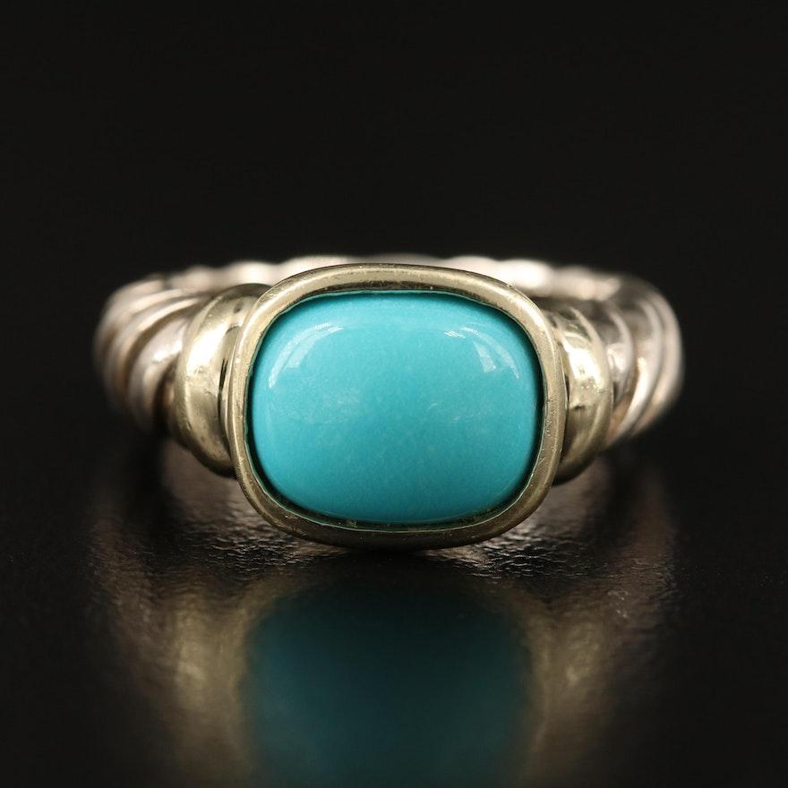David Yurman Sterling Turquoise Bezel Ring