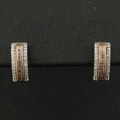 10K Diamond Huggie Earrings