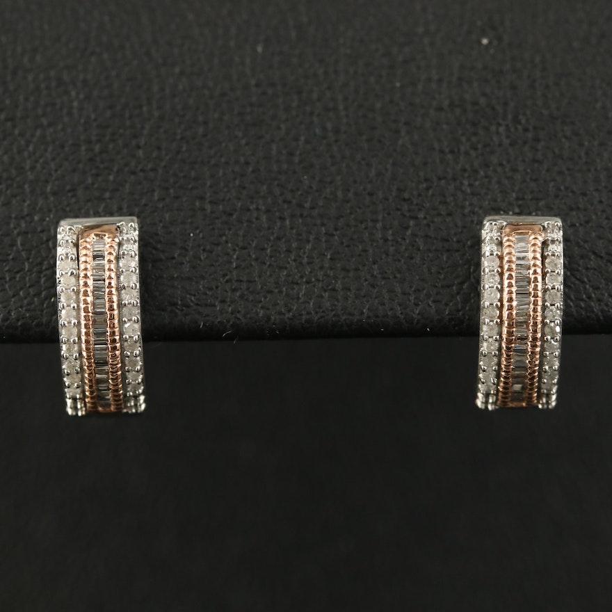 10K Diamond Huggie Earrings