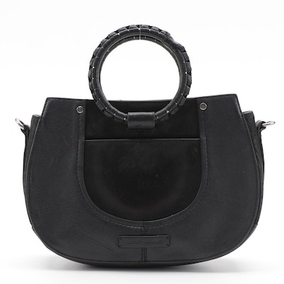 Lucky Brand Ring Handle Bag in Black Suede and Leather