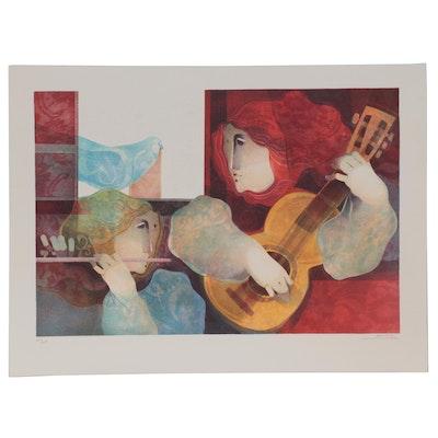 """Àlvar Suñol Lithograph """"Musique de Flores,"""" Late 20th Century"""