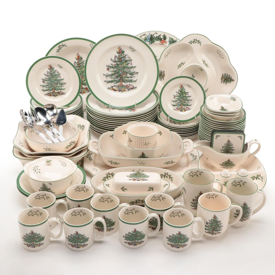"""Spode """"Christmas Tree"""" and Other Christmas Themed Dinnerware and Serveware"""
