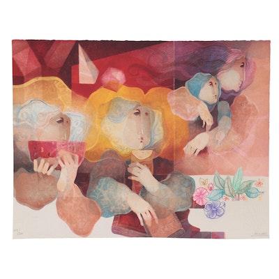 """Àlvar Suñol Lithograph """"L'Humanisme Suite,"""" Late 20th Century"""