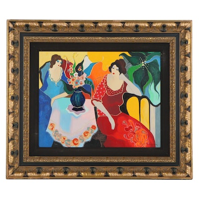"Itzchak Tarkay Embellished Serigraph ""Becky and Donna II,"" Late 20th Century"