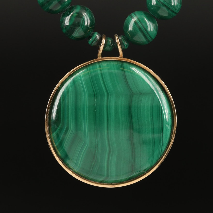 Sterling Malachite Pendant on Beaded Necklace