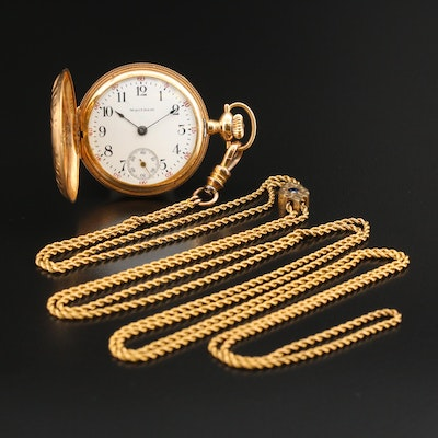 1894 Waltham 14K Pocket Watch with 14K Sapphire Fob Chain