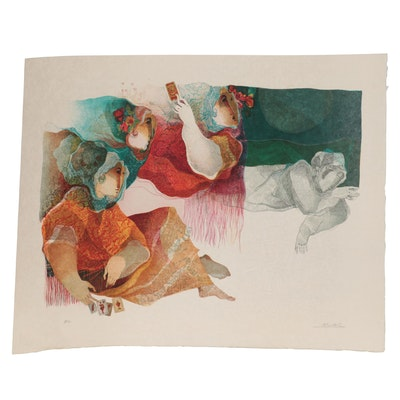 "Àlvar Suñol Lithograph ""Acte III Trio-Les Cartes,"" 1982"