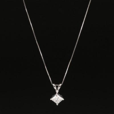 14K 0.95 CT Diamond Solitaire Pendant Necklace