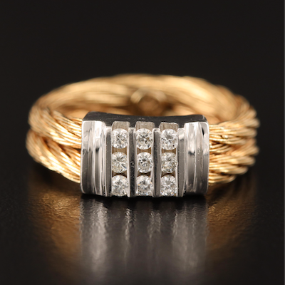 14K Diamond Cable Band