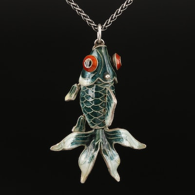 Sterling Enamel Articulating Fish Pendant Necklace