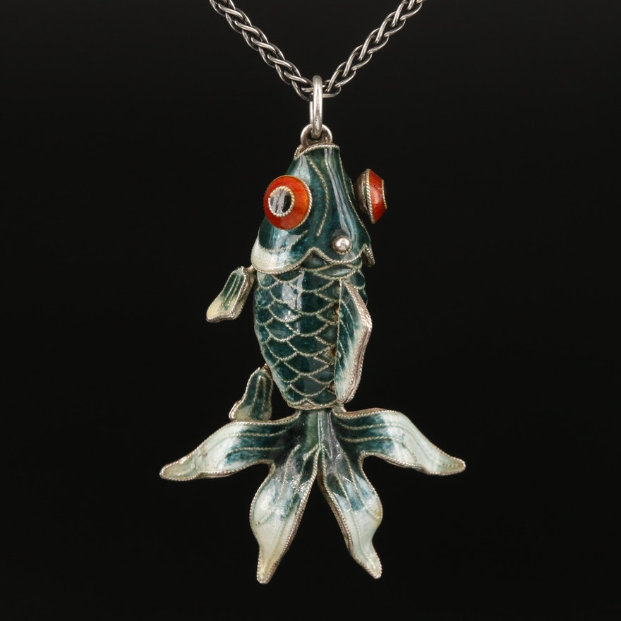 Sterling Enamel Articulating Fish Pendant Necklace