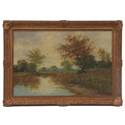 Landscape Oil Painting Attributed to Gyula Metyko, Mid-20th Century