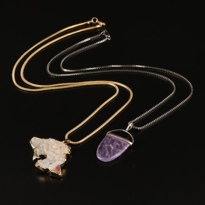 Sterling Amethyst Necklace with Druzy Pendant Necklace
