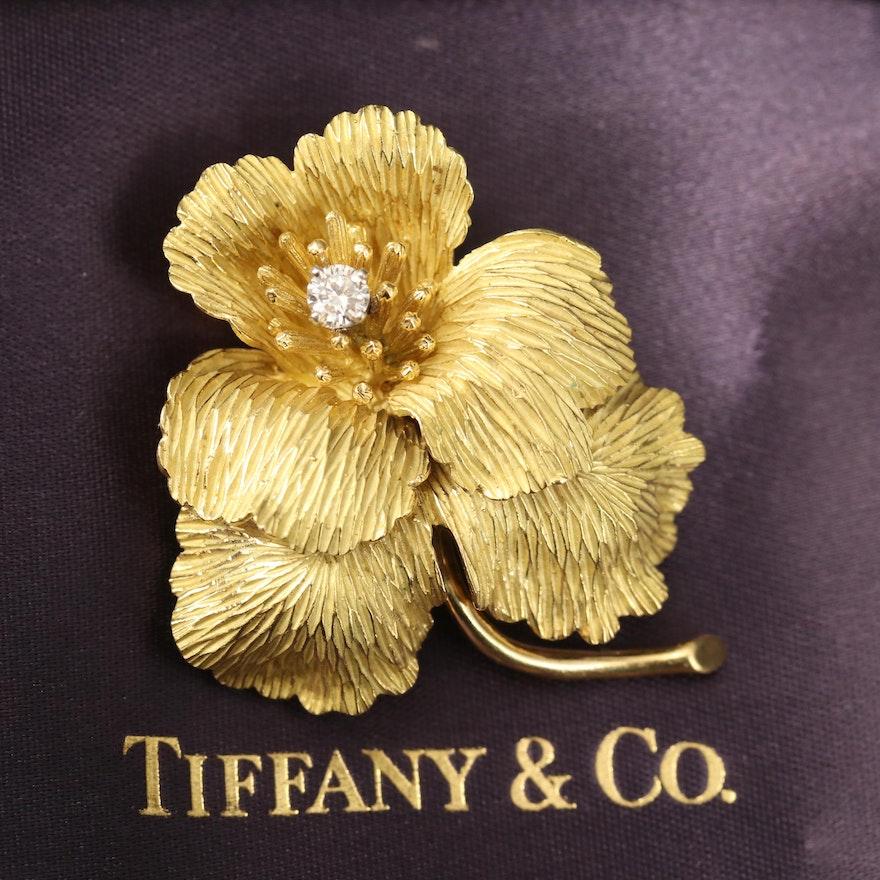 Tiffany & Co. 18K Diamond Pansy Brooch