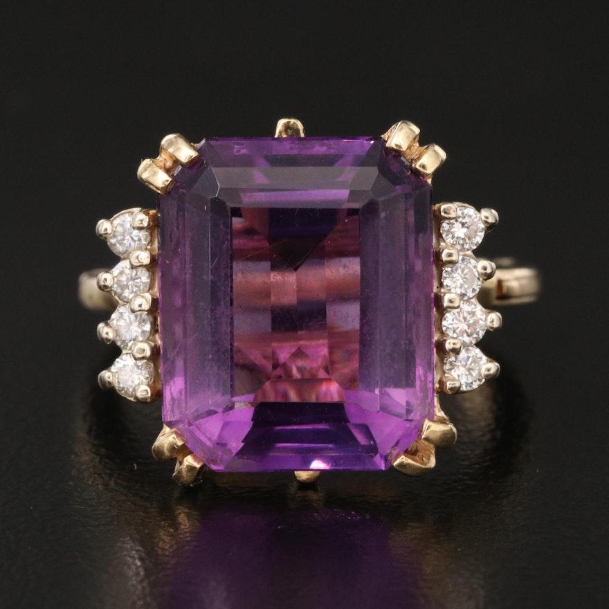 14K Amethyst and Diamond Ring with Arthritic Shank