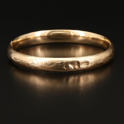 14K Engraved Hinged Bangle