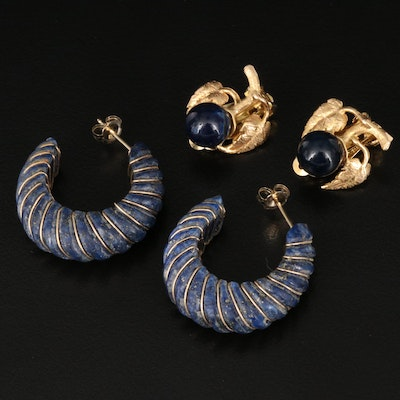 14K Lapis Lazuli Earrings Featuring Clip-On and Hoop Styles