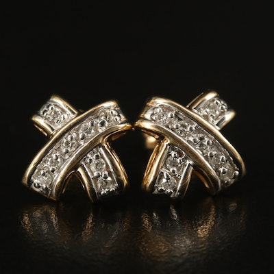 14K Diamond Crossover Stud Earrings