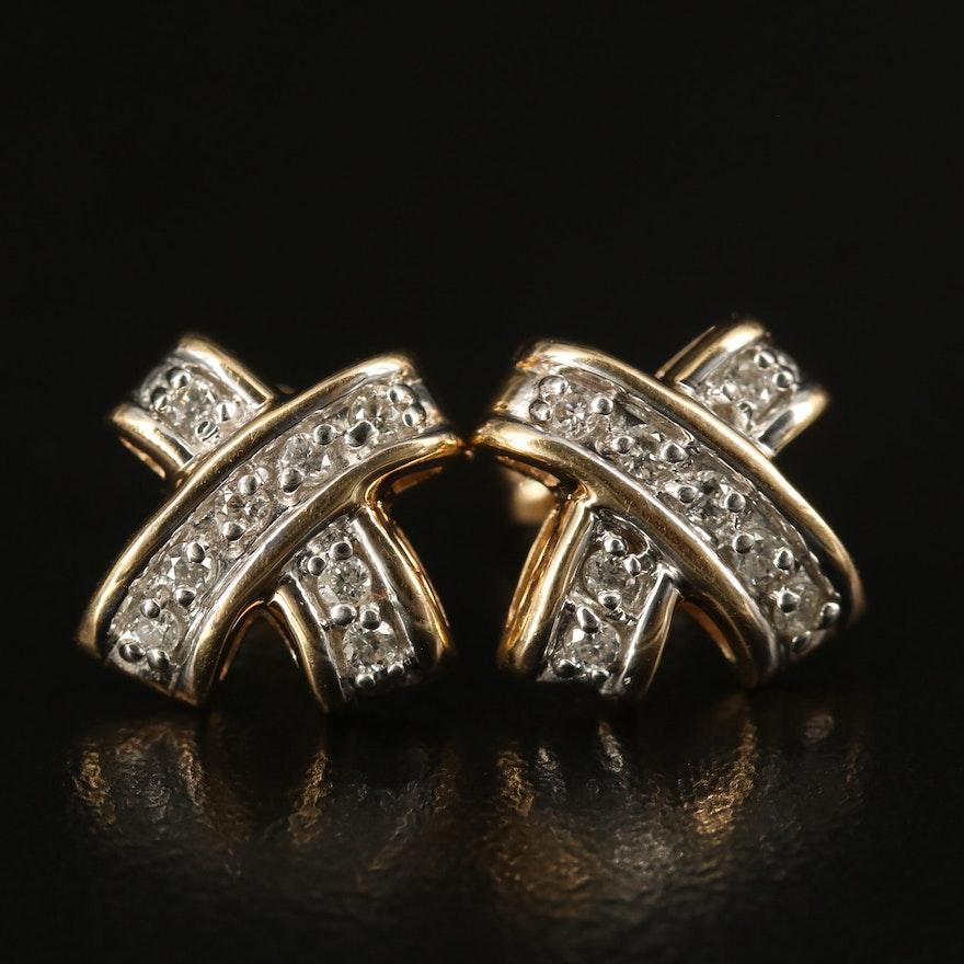 14K Diamond Crossover Stud Earrings