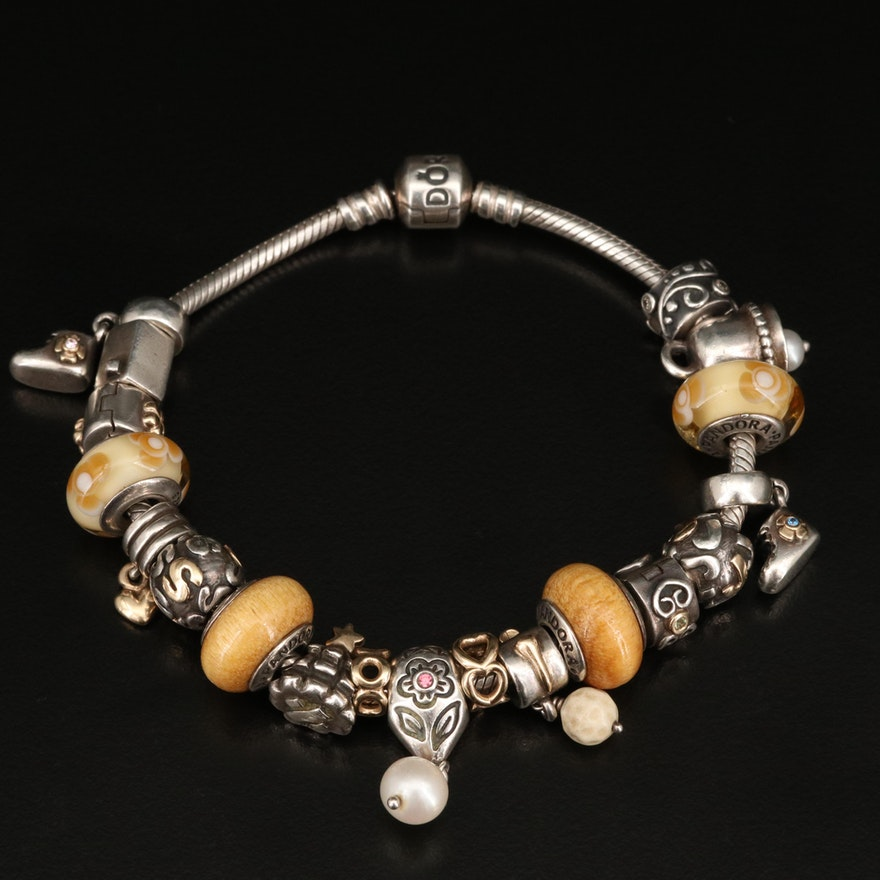 Pandora Sterling and 14K Charm Bracelet Including Pearl and Additional Gemstones