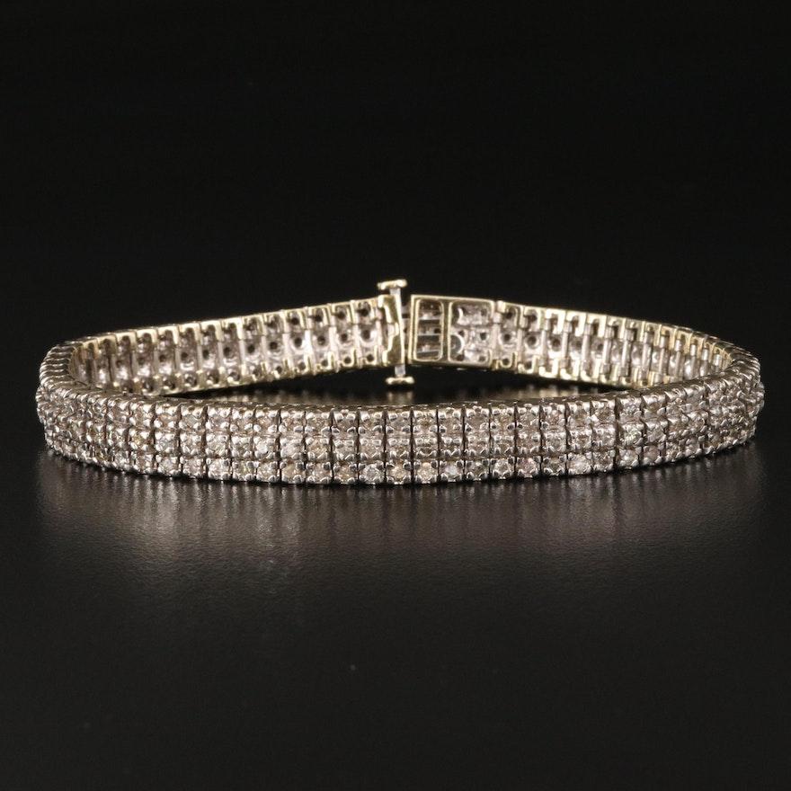 10K 5.51 CTW Diamond Multi-Row Line Bracelet