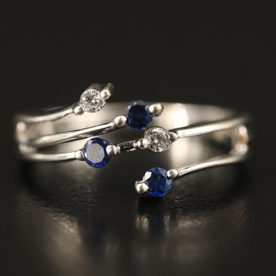 14K Diamond and Sapphire Multi-Row Band