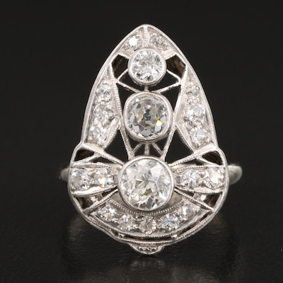 1930s 14K 1.22 CTW Diamond Ring with Platinum Top