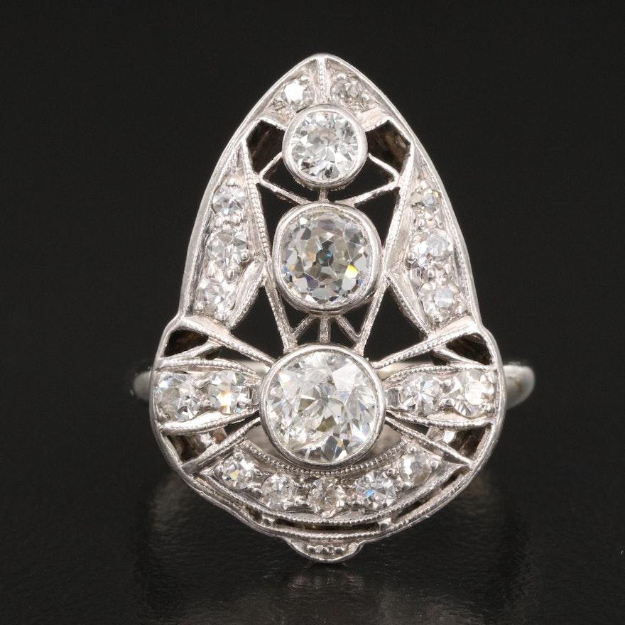 1930s 14K 1.22 CTW Diamond Ring with Platinum Top
