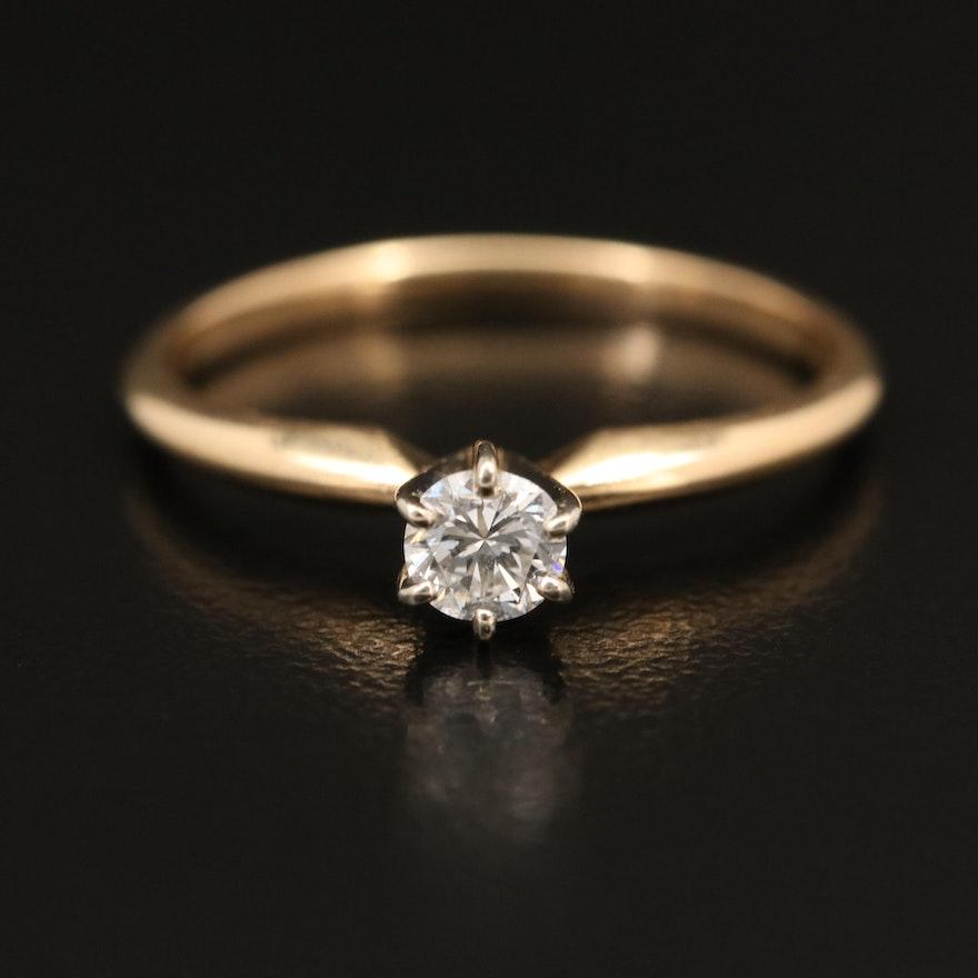 14K 0.21 CT Diamond Solitaire Ring