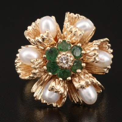Vintage 14K Emerald, Pearl and Diamond Flower Ring