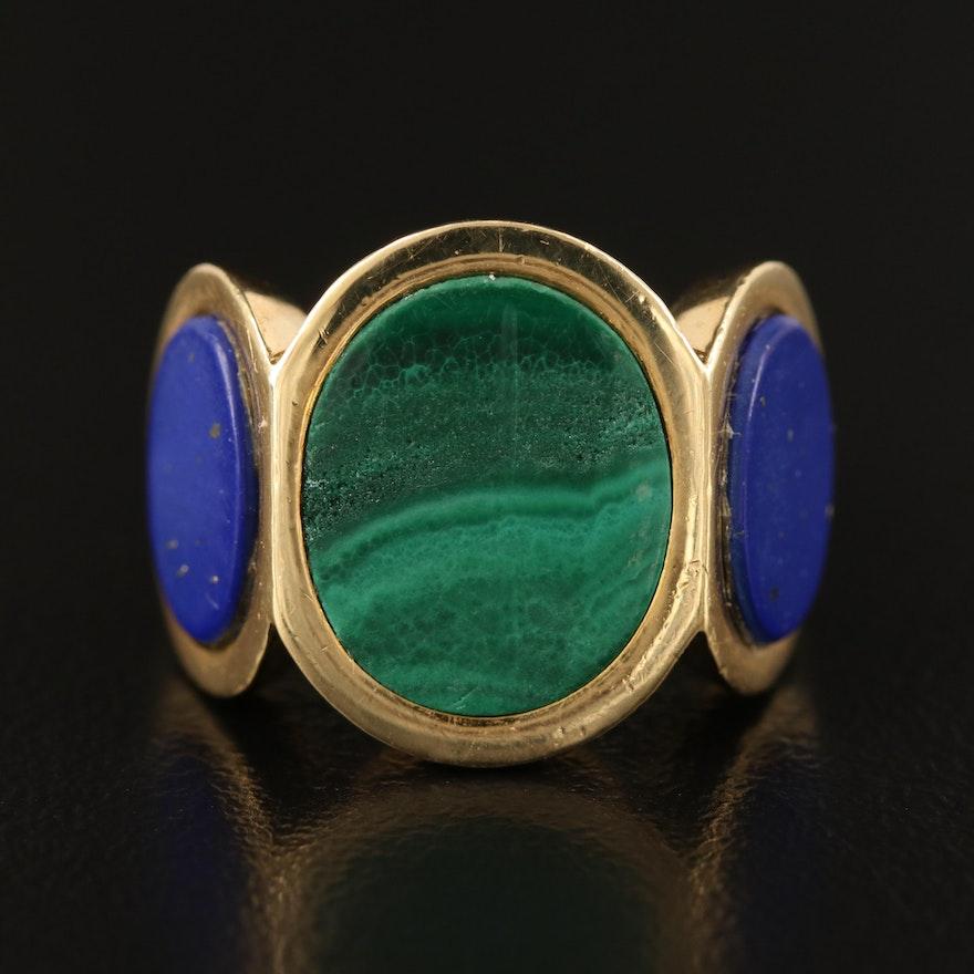 18K Malachite and Imitation Lapis Lazuli Three Panel Ring