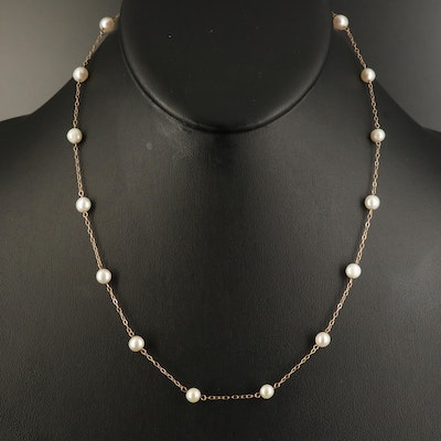 10K Pearl Station Necklace