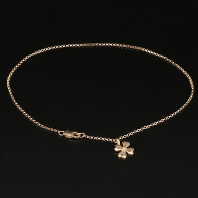 14K Diamond Anklet with Flower Charm