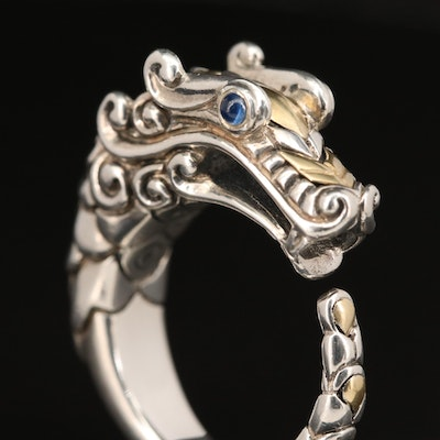 "John Hardy ""Legends Naga"" Sterling Sapphire Ring with 18K Accents"
