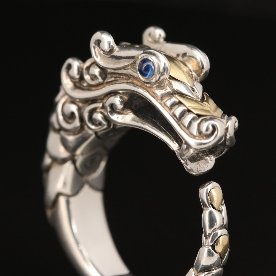 """John Hardy """"Legends Naga"""" Sterling Sapphire Ring with 18K Accents"""
