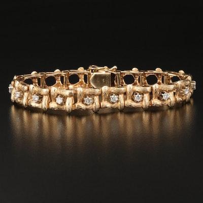 Vintage 14K Diamond Woven Link Bracelet