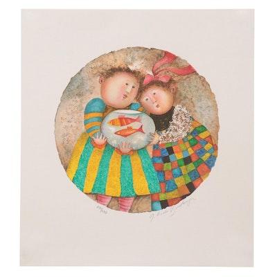 "Graciela Rodo Boulanger Lithograph ""Deux Poissons,"" 2002"